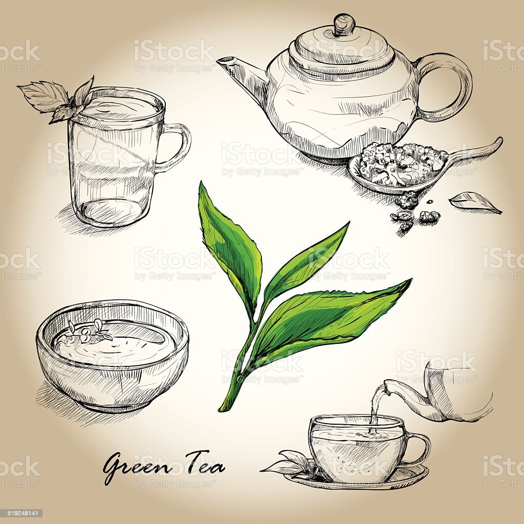 Hand drawn sketch vector tea set vector art illustration