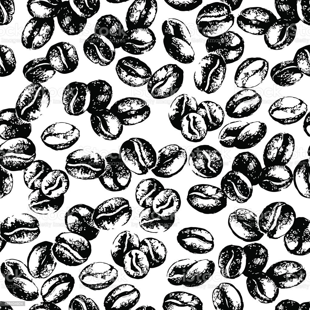 Hand drawn sketch vintage coffee beans seamless pattern. Vector vector art illustration