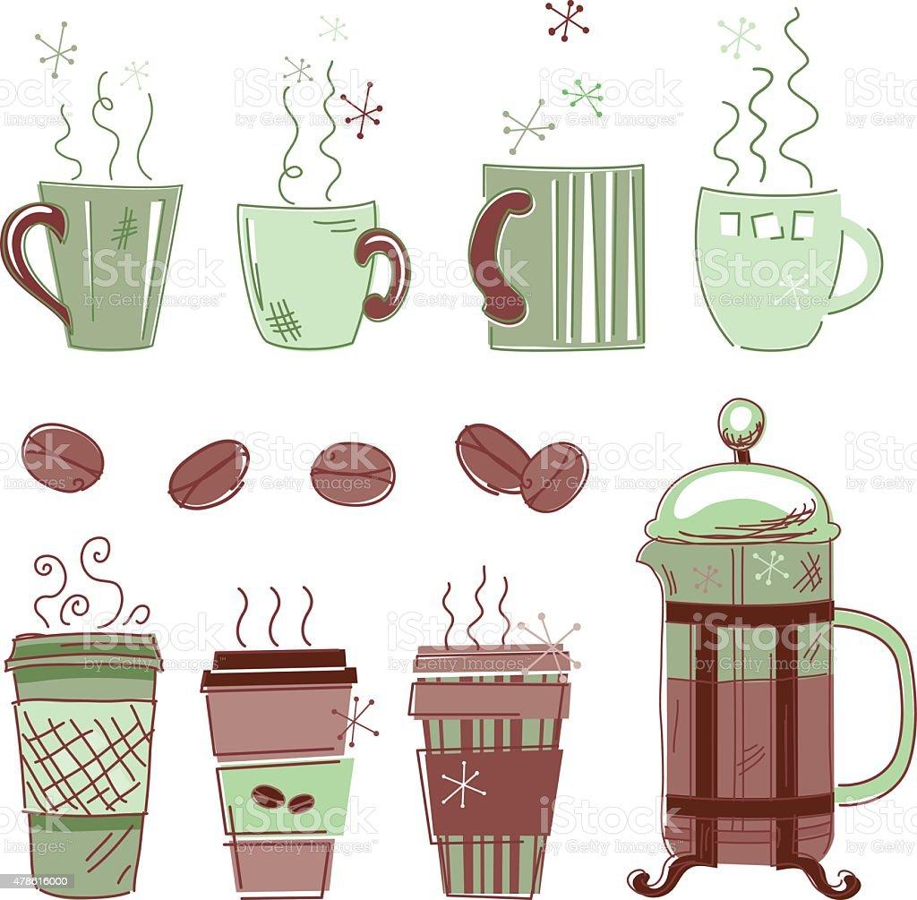 Hand Drawn Sketchy Coffee Elements vector art illustration