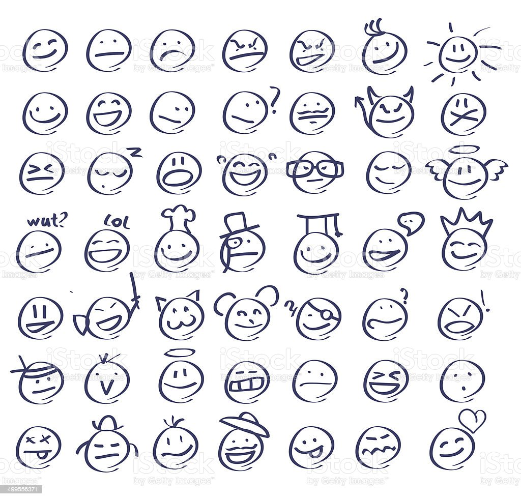 Hand drawn smiley faces/emoticons vector art illustration