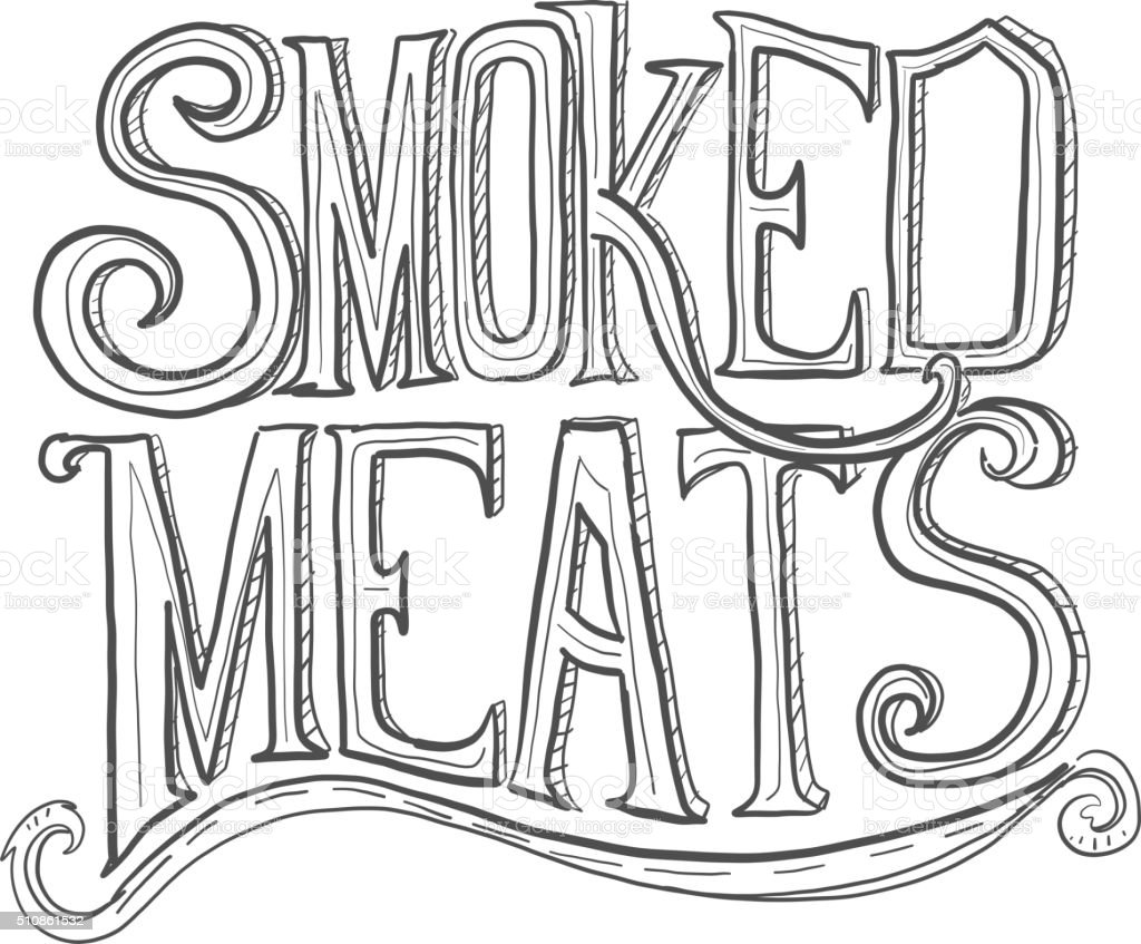 Hand drawn Smoked Meats lettering vector art illustration