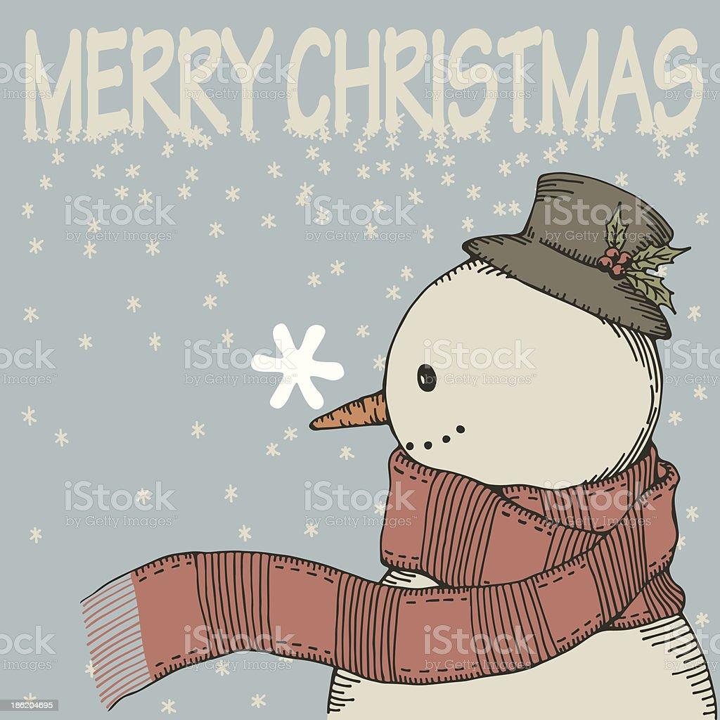 Hand Drawn Snowman royalty-free stock vector art