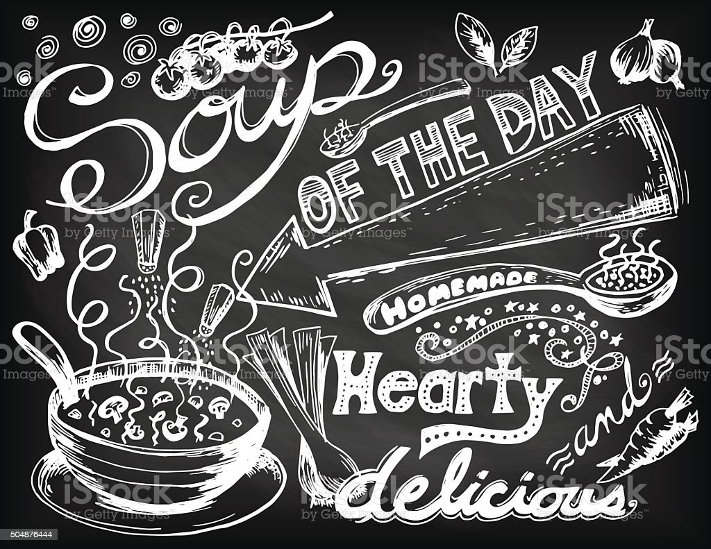 Hand Drawn Soup Doodles vector art illustration