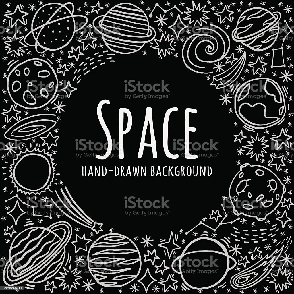 Hand drawn space vector background vector art illustration