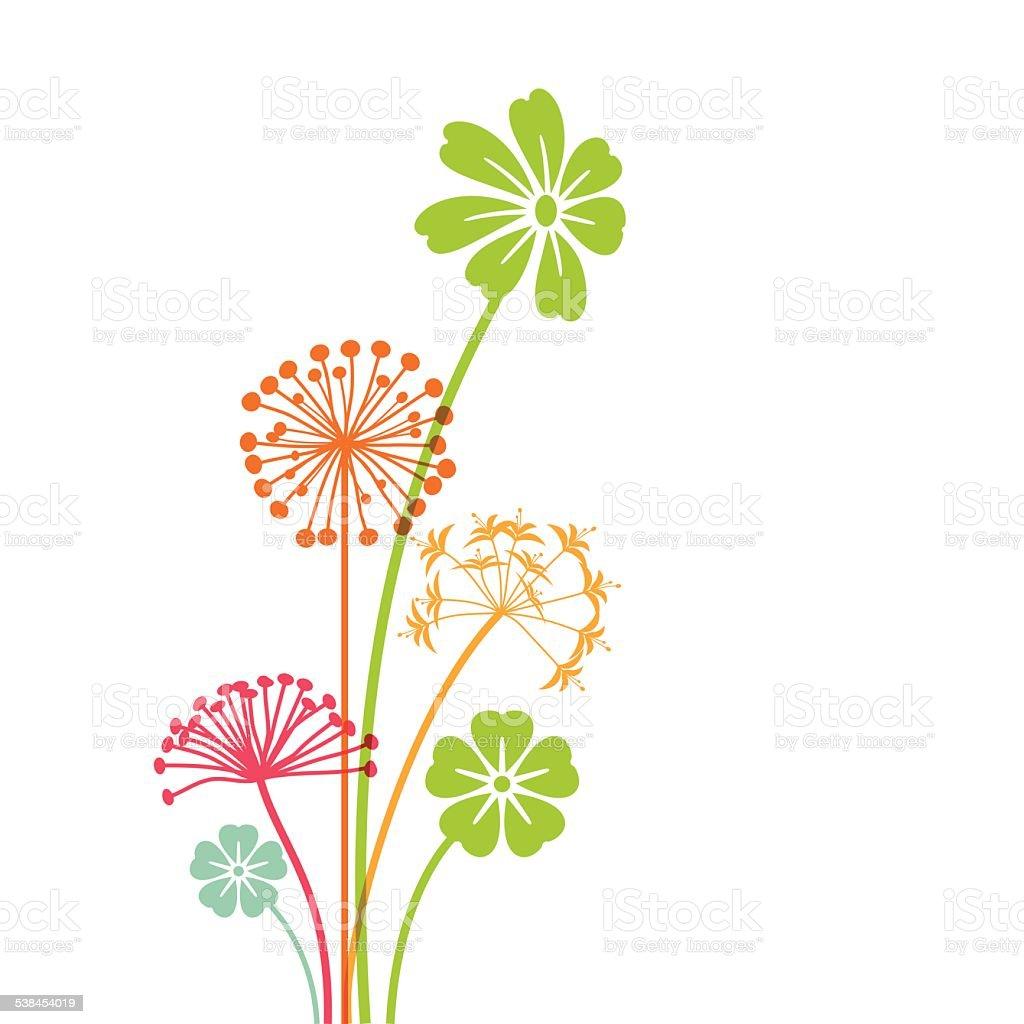 Hand drawn spring flowers - VECTOR vector art illustration
