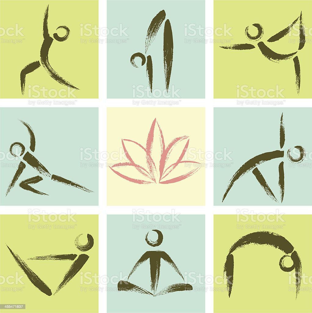 Hand Drawn Style Yoga Position Icons royalty-free stock vector art