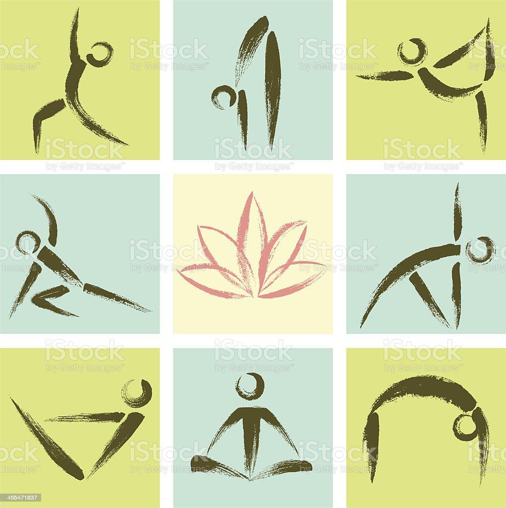 Hand Drawn Style Yoga Position Icons vector art illustration