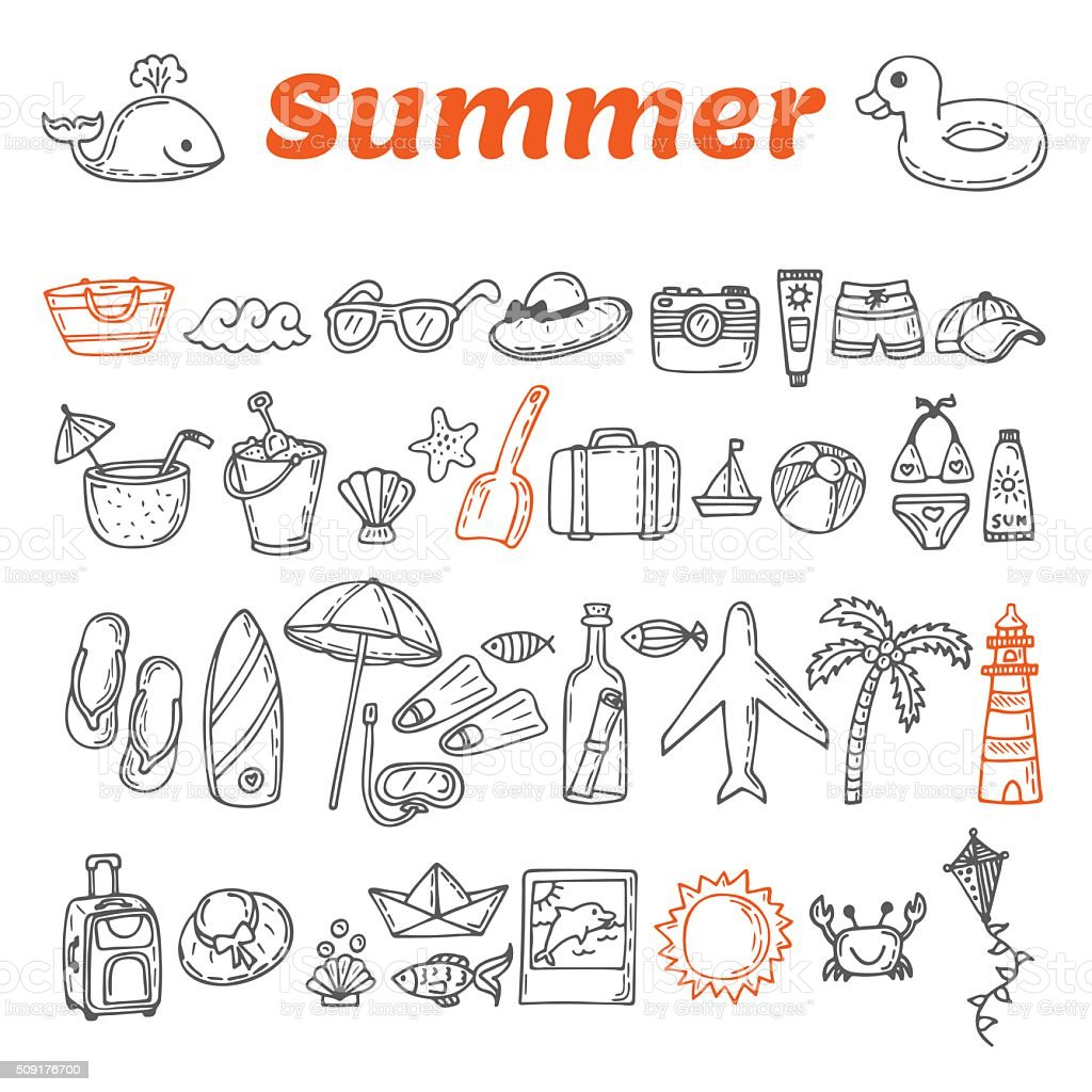 Hand drawn summer collection. Beach theme doodle set. Travel vector art illustration