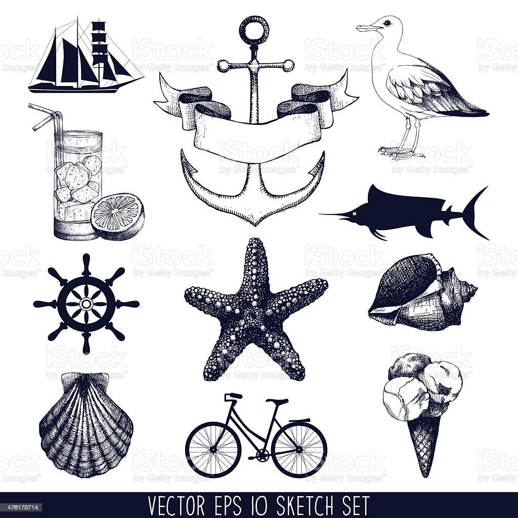 hand drawn summer holiday illustrations vector art illustration