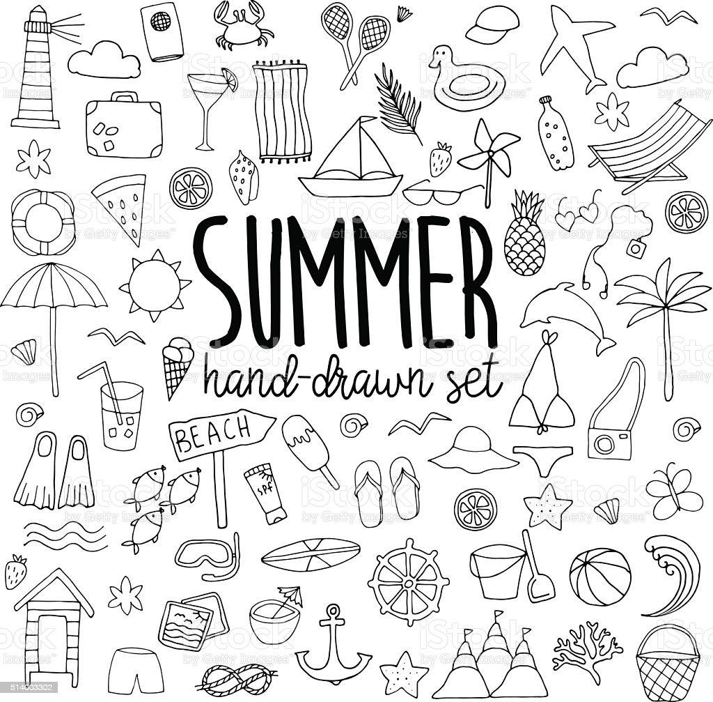 Hand drawn summer set vector art illustration