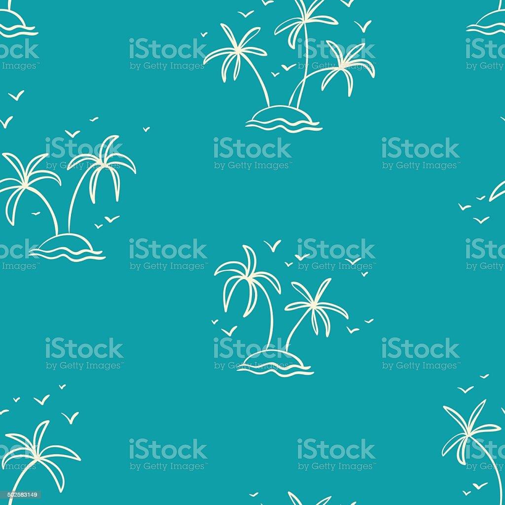 hand drawn summer touristic seamless pattern vector art illustration