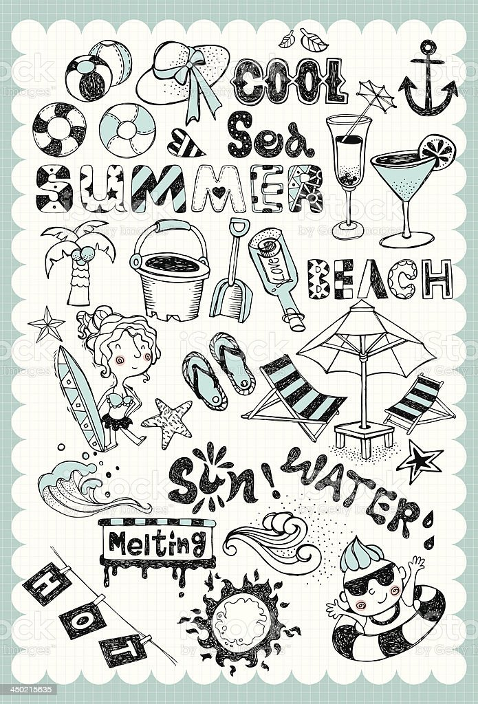 Hand drawn summer vacation set 01 vector art illustration