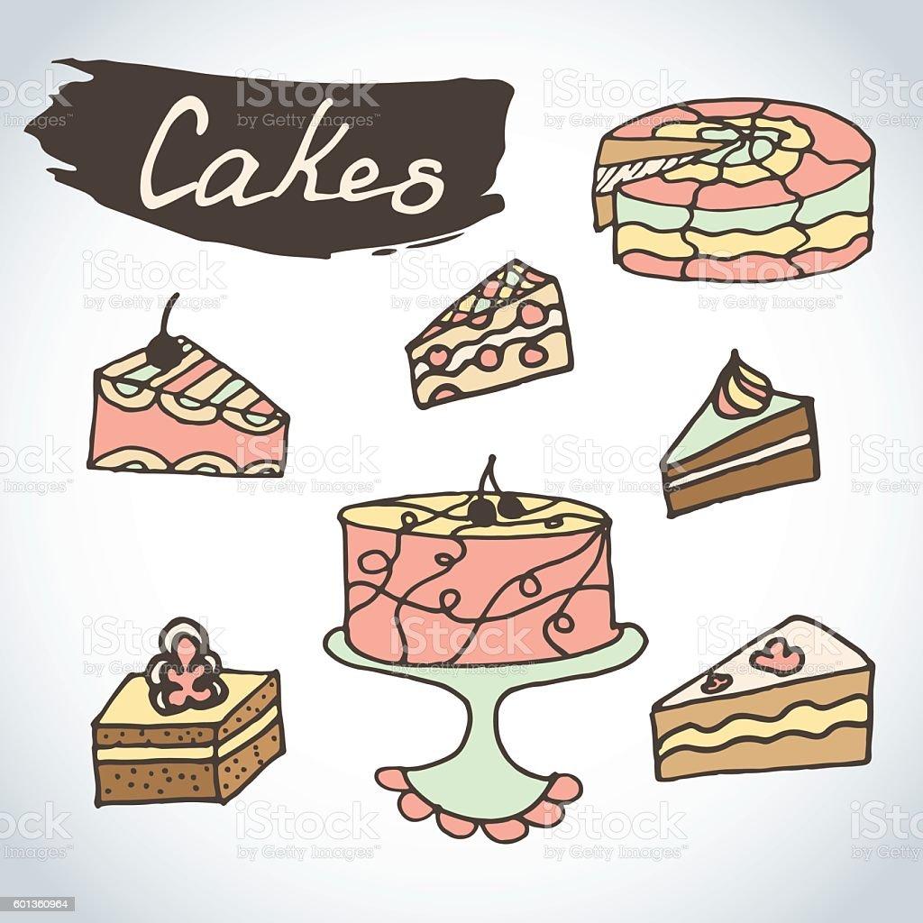 Hand drawn sweet cakes set. vector art illustration