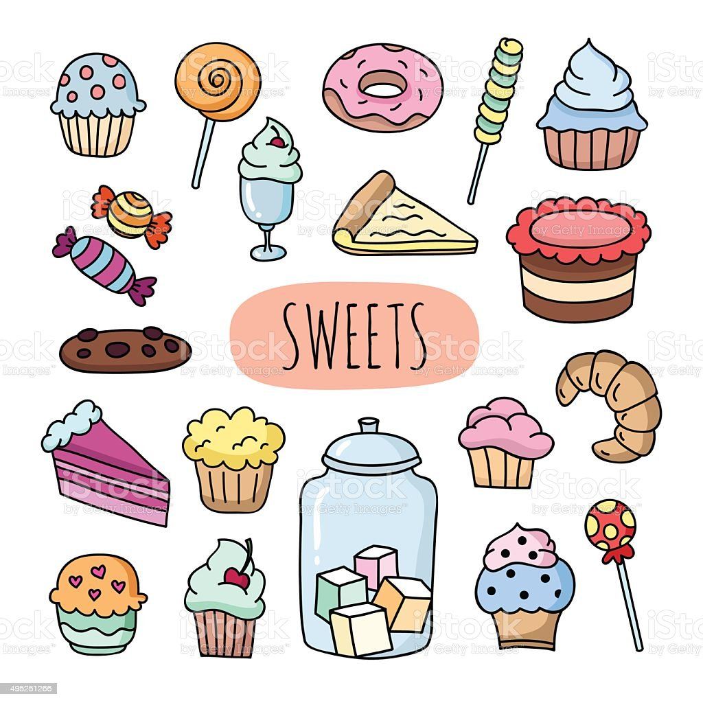 Hand drawn sweets: desserts, cakes, cupcakes, donuts, ice cream vector art illustration