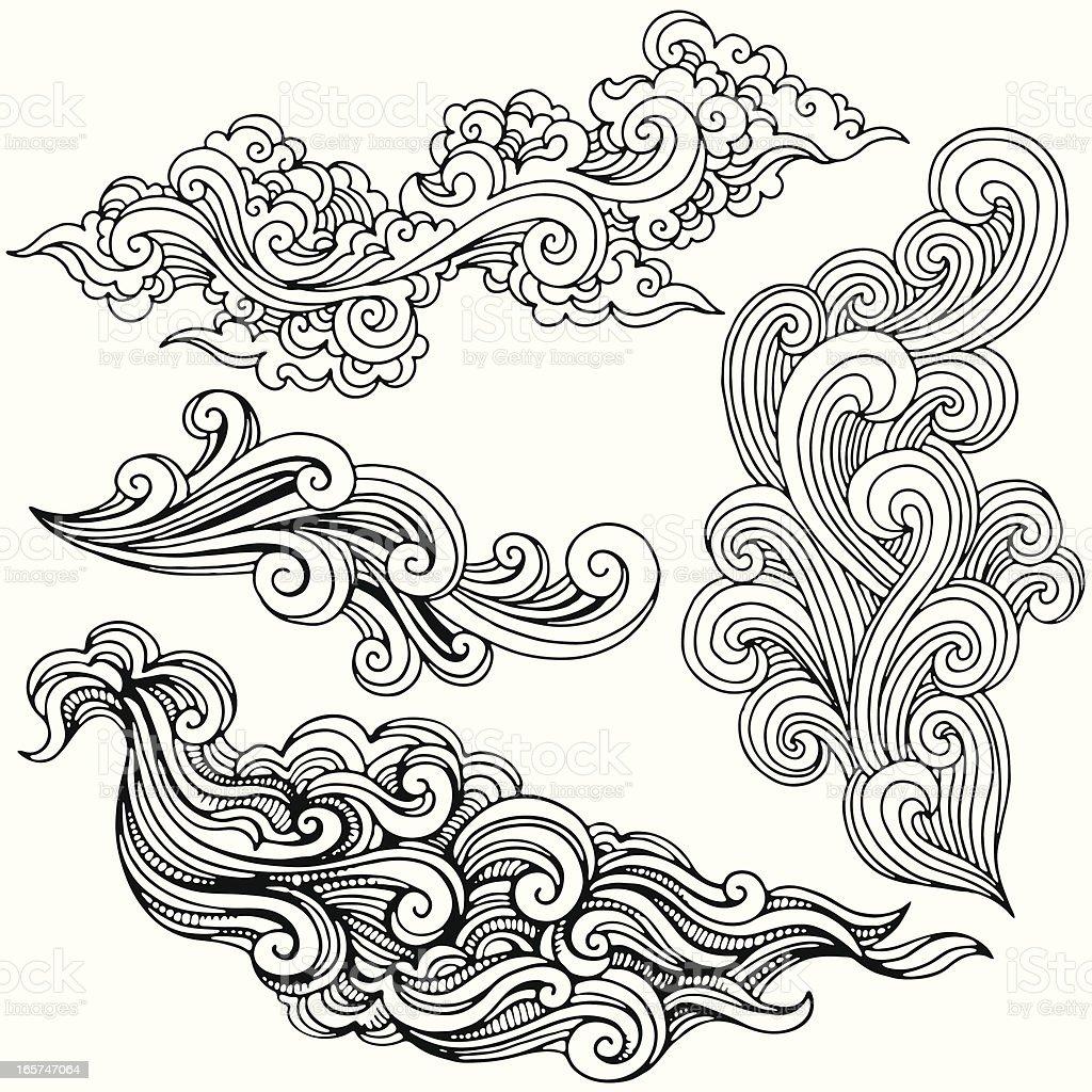 Hand Drawn Swirls vector art illustration