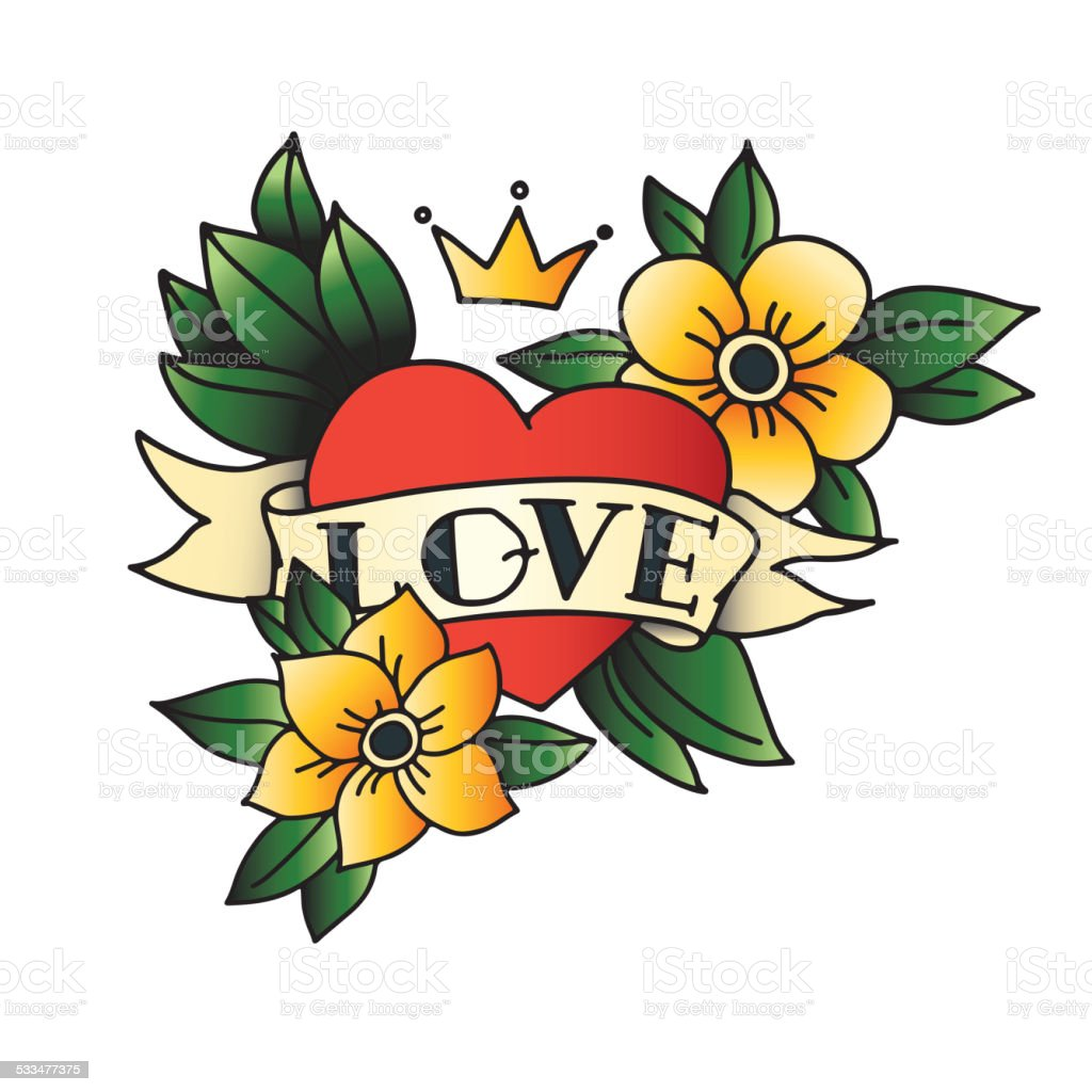 Hand drawn tattoo heart with ribbon and leaves vector art illustration