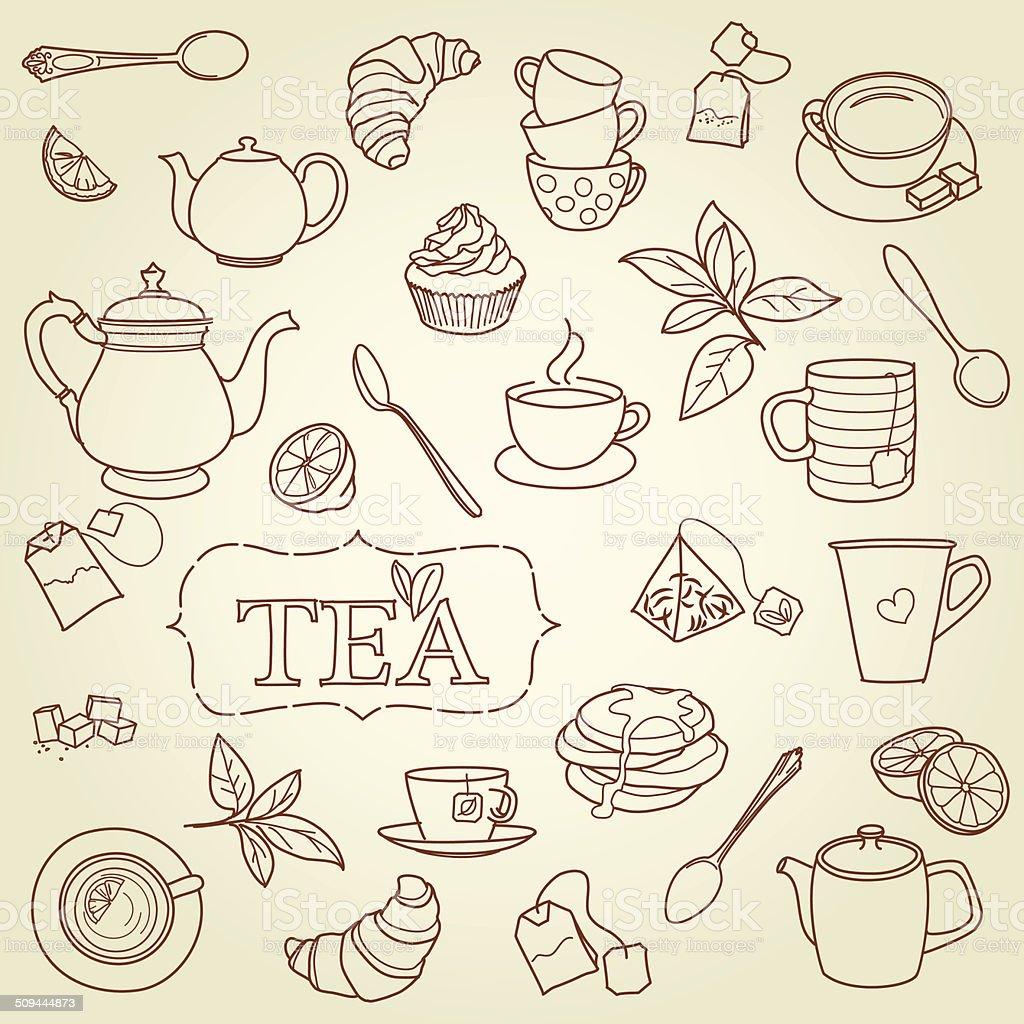 Mão desenho doodle vetor de conceito de chá vetor e ilustração royalty-free royalty-free