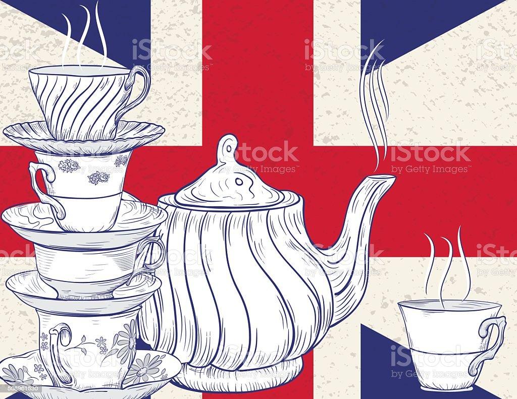 Hand Drawn Tea Party and British Flag vector art illustration