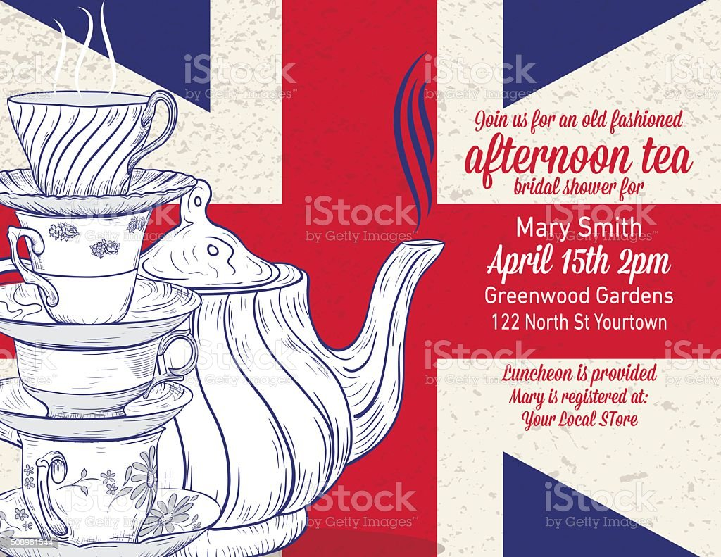 Hand Drawn Tea Party Bridal Shower Template vector art illustration
