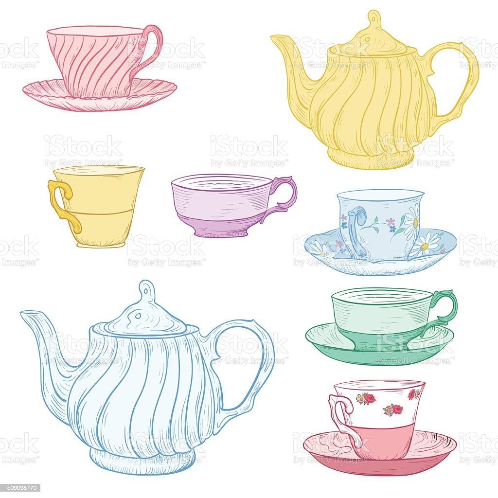 Hand Drawn Tea Set vector art illustration
