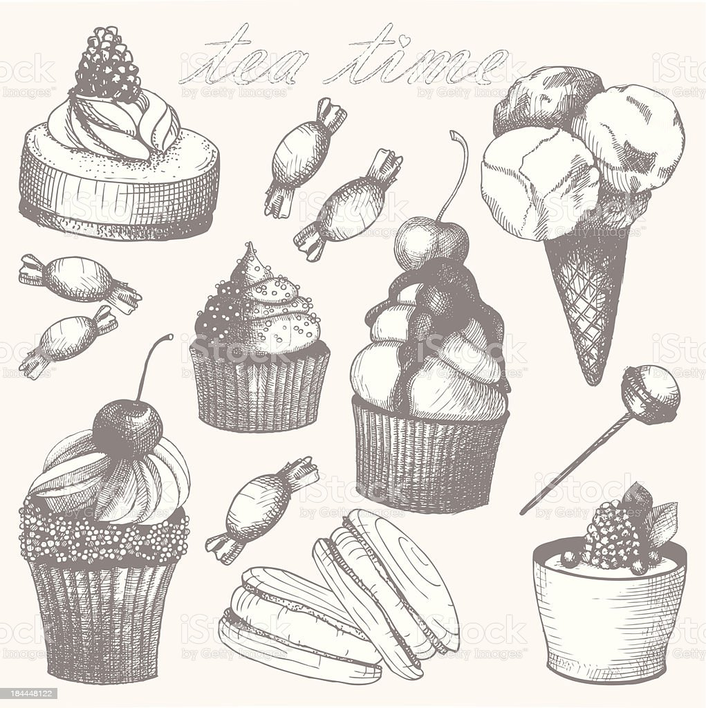 Hand drawn tea time illustrations. royalty-free stock vector art