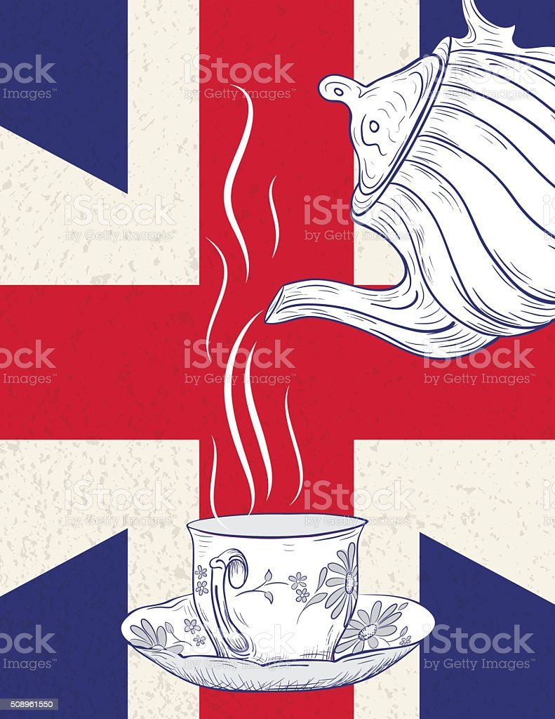 Hand Drawn Tecpot and Cup With British Flag vector art illustration