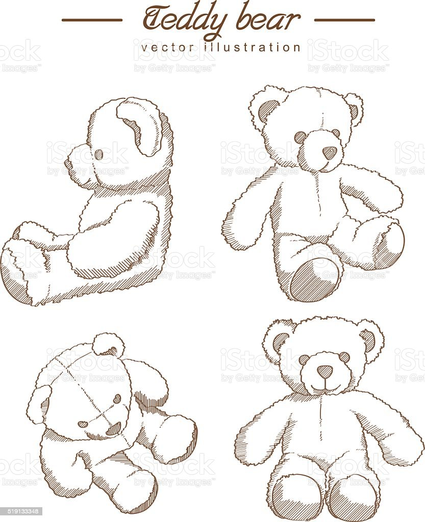 Hand drawn teddy bear vector art illustration