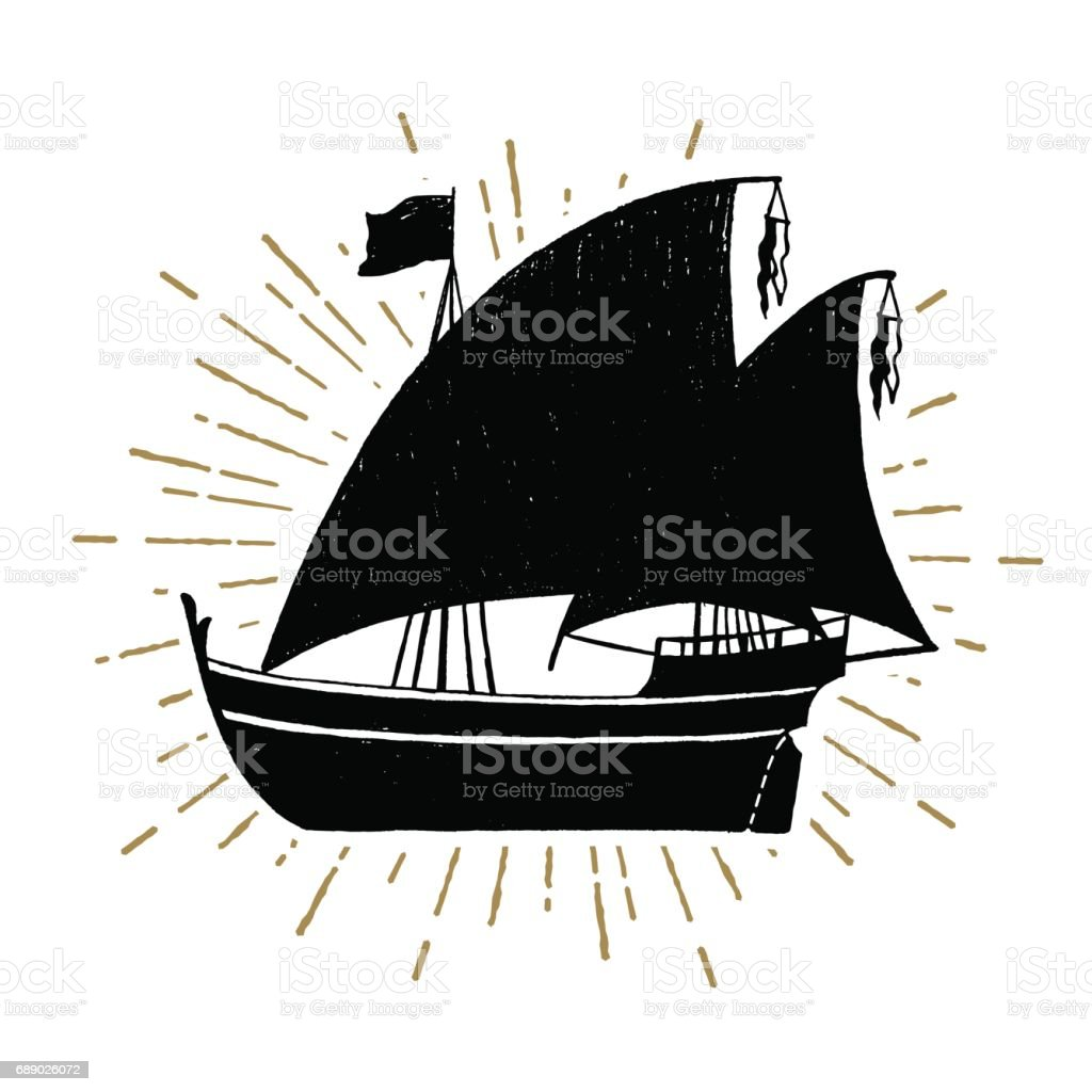 Hand drawn textured vintage icon with ship vector illustration vector art illustration