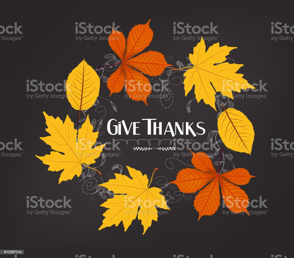 Hand drawn thanksgiving greeting card with leaves vector art illustration
