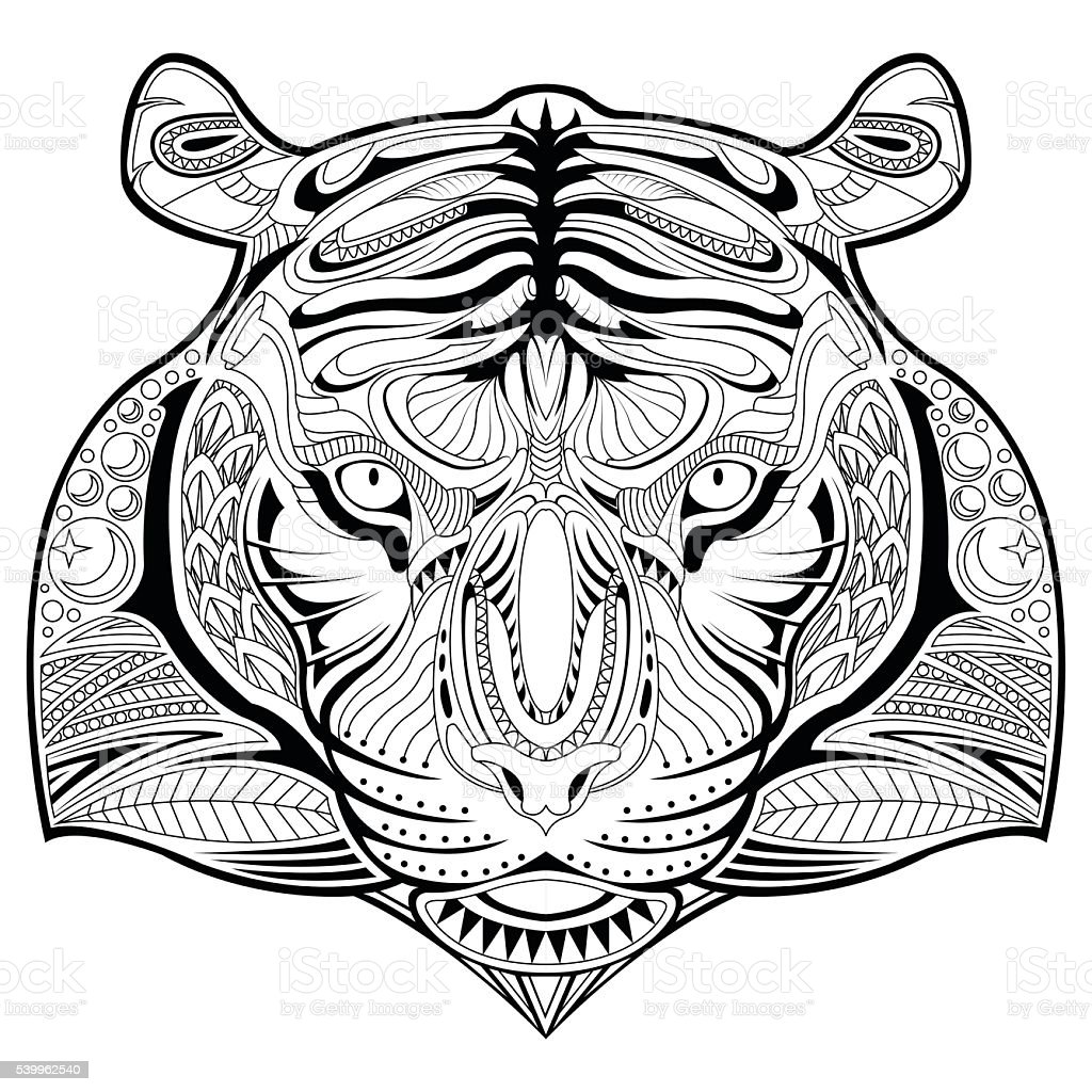 hand drawn tiger face illustration coloring page stock vector art