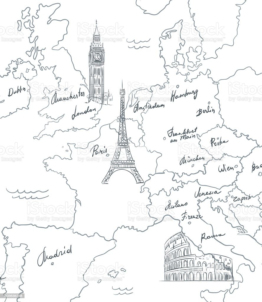 Hand drawn tourist map with sights of Europe vector art illustration