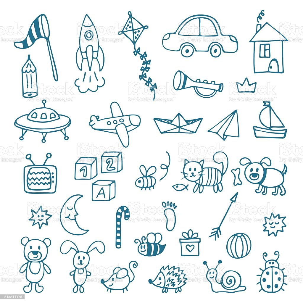 Hand drawn toys for boys. Vector set of different toys vector art illustration