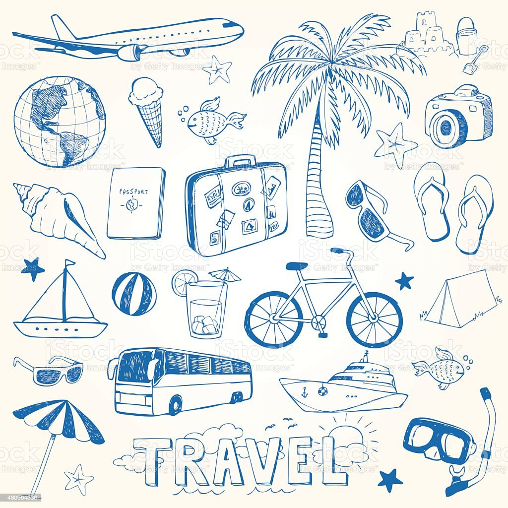 Hand drawn travel doodles vector illustration vector art illustration