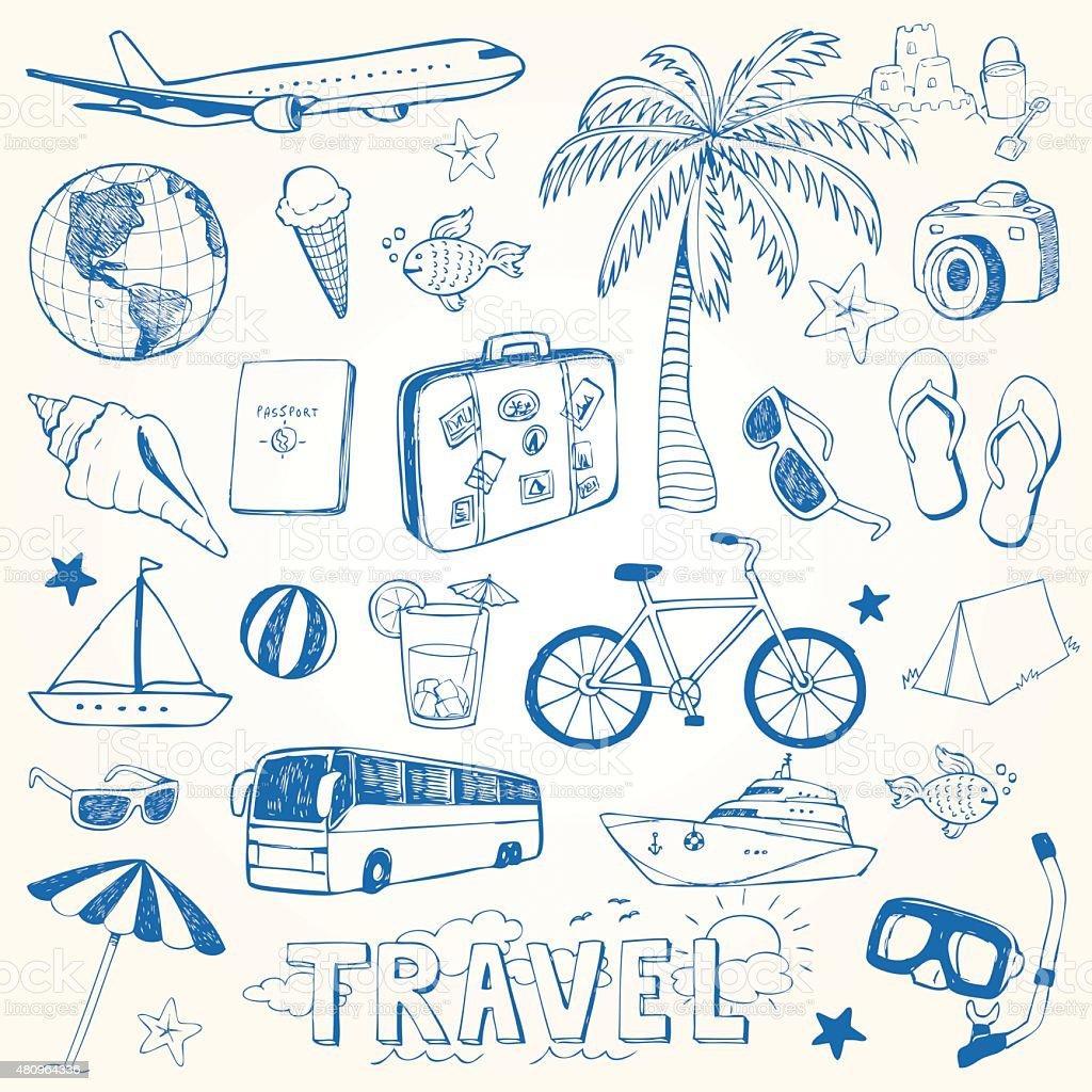 Hand drawn travel doodles vector illustration vector art illustration