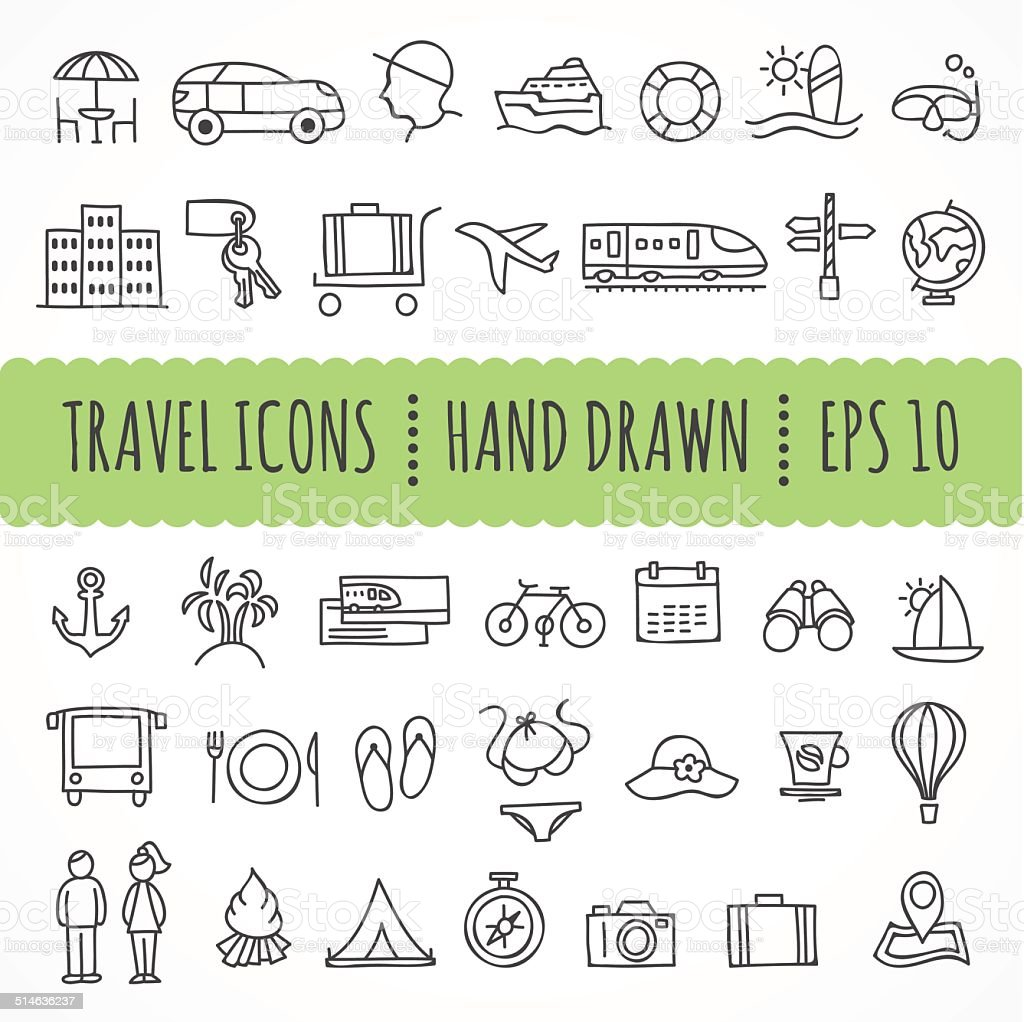 Hand drawn travel icons made in vector vector art illustration