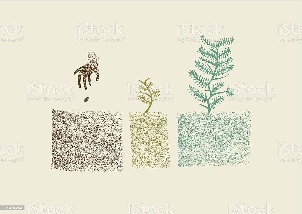 Hand drawn tree growing process in three steps vector illustration vector art illustration