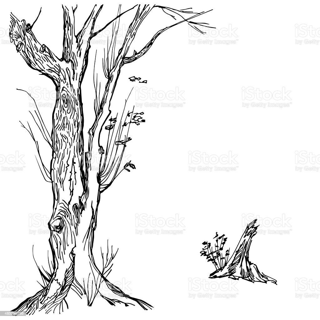 Hand drawn tree silhouette and stump vector art illustration