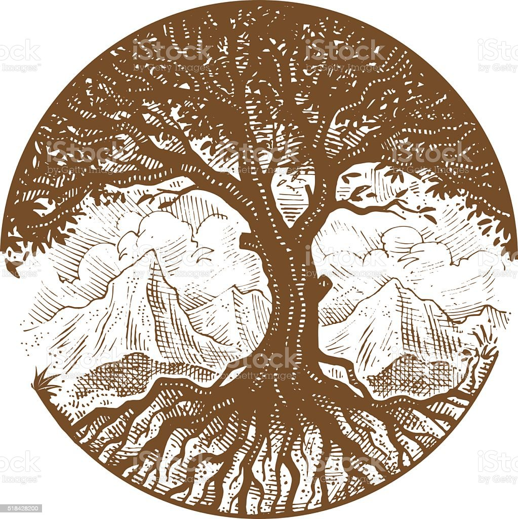 Hand drawn tree vector art illustration