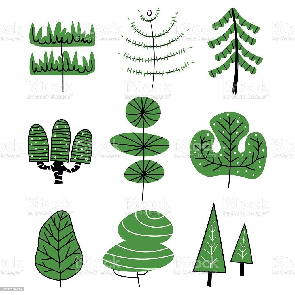 Hand drawn trees vector art illustration