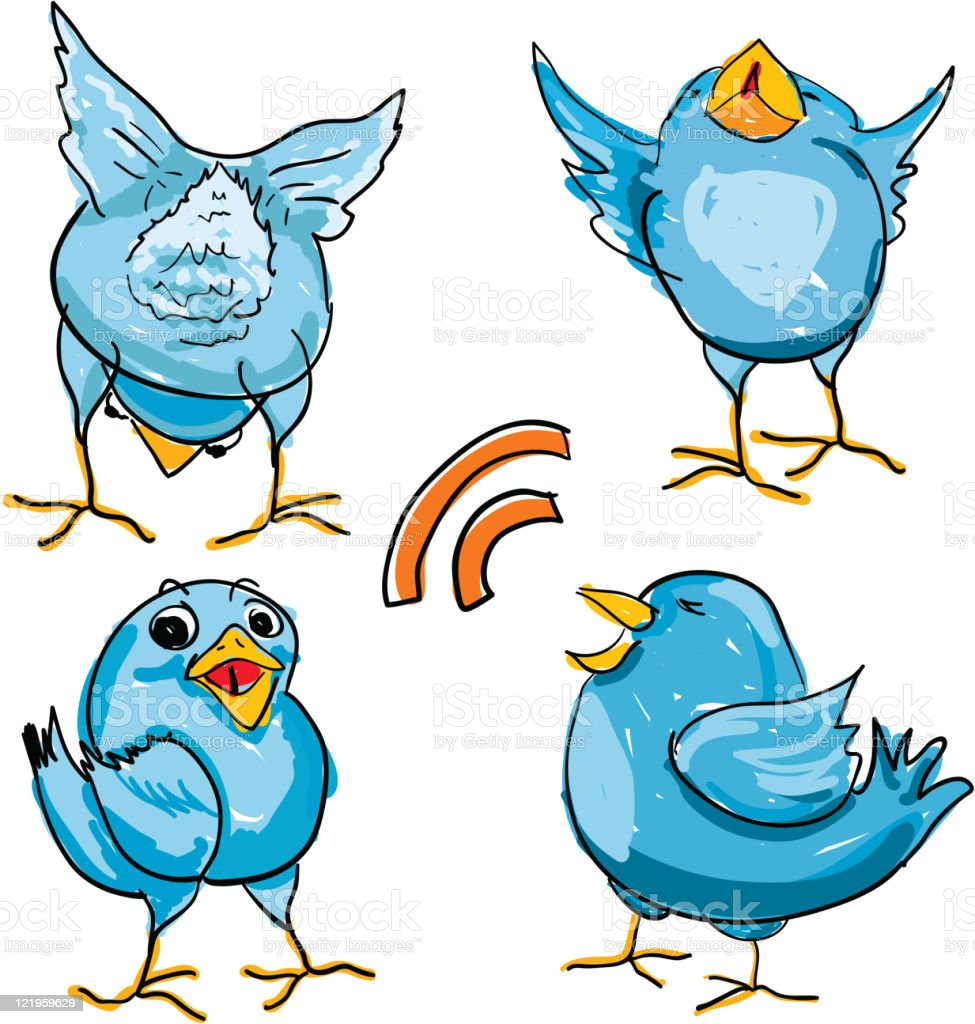 Hand Drawn Tweets or Bluebirds royalty-free stock vector art