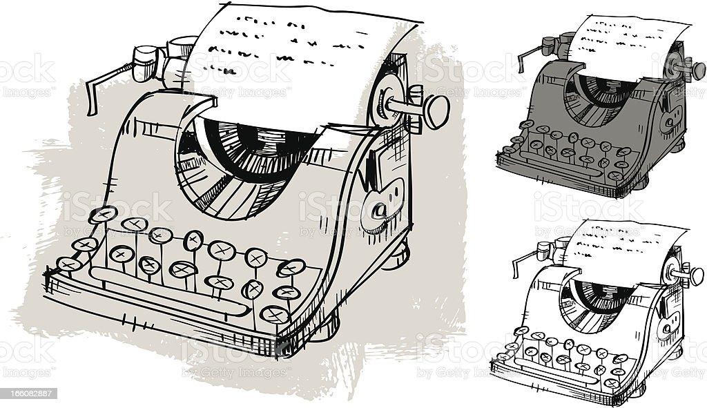 Hand Drawn Typewriter royalty-free stock vector art