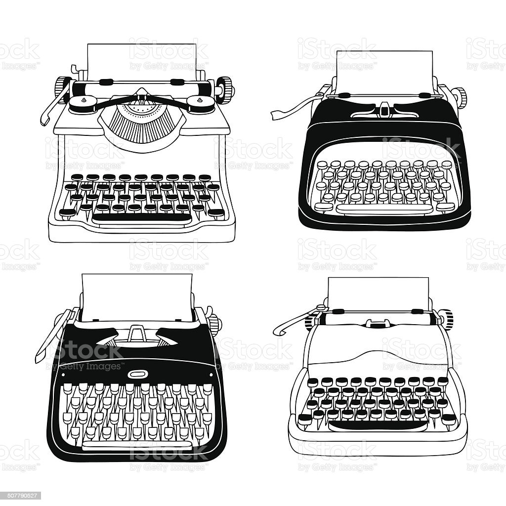 Hand Drawn Typewriters vector art illustration