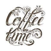 Hand drawn typography lettering phrase coffee time isolated on the
