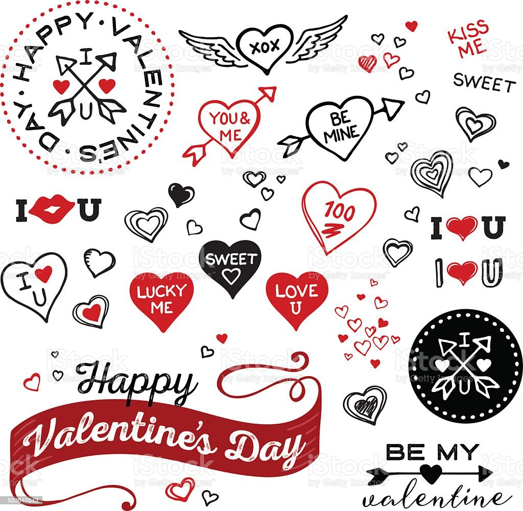 Hand Drawn Valentines Day and Heart elements vector art illustration
