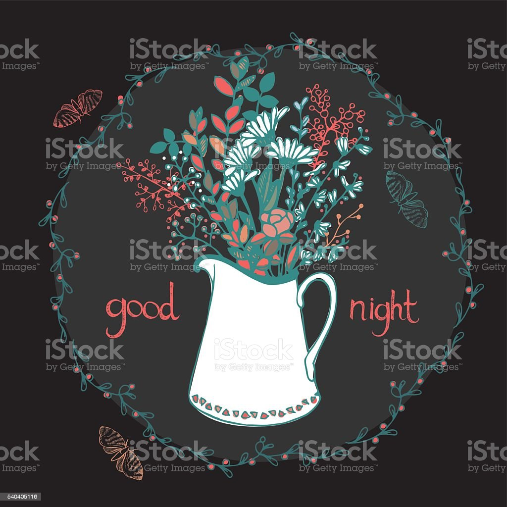 Hand drawn vase with flowers vector art illustration