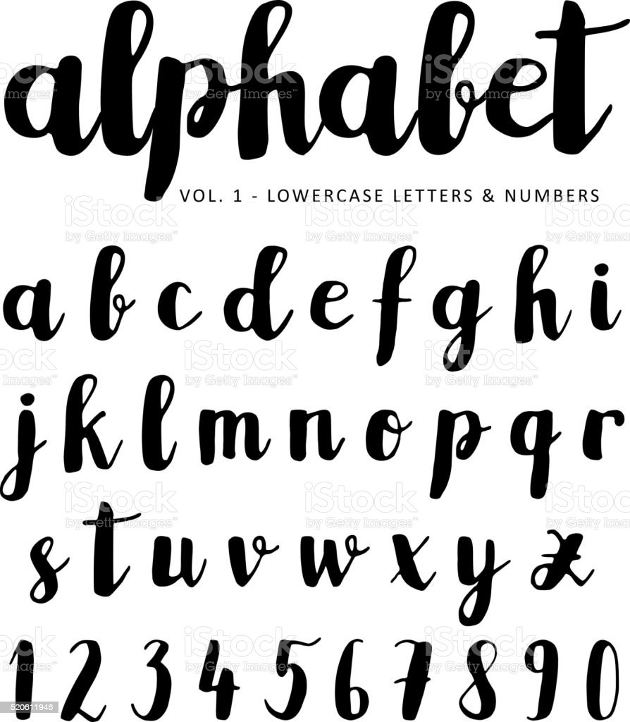 Hand drawn vector alphabet, font, isolated ink letters written vector art illustration