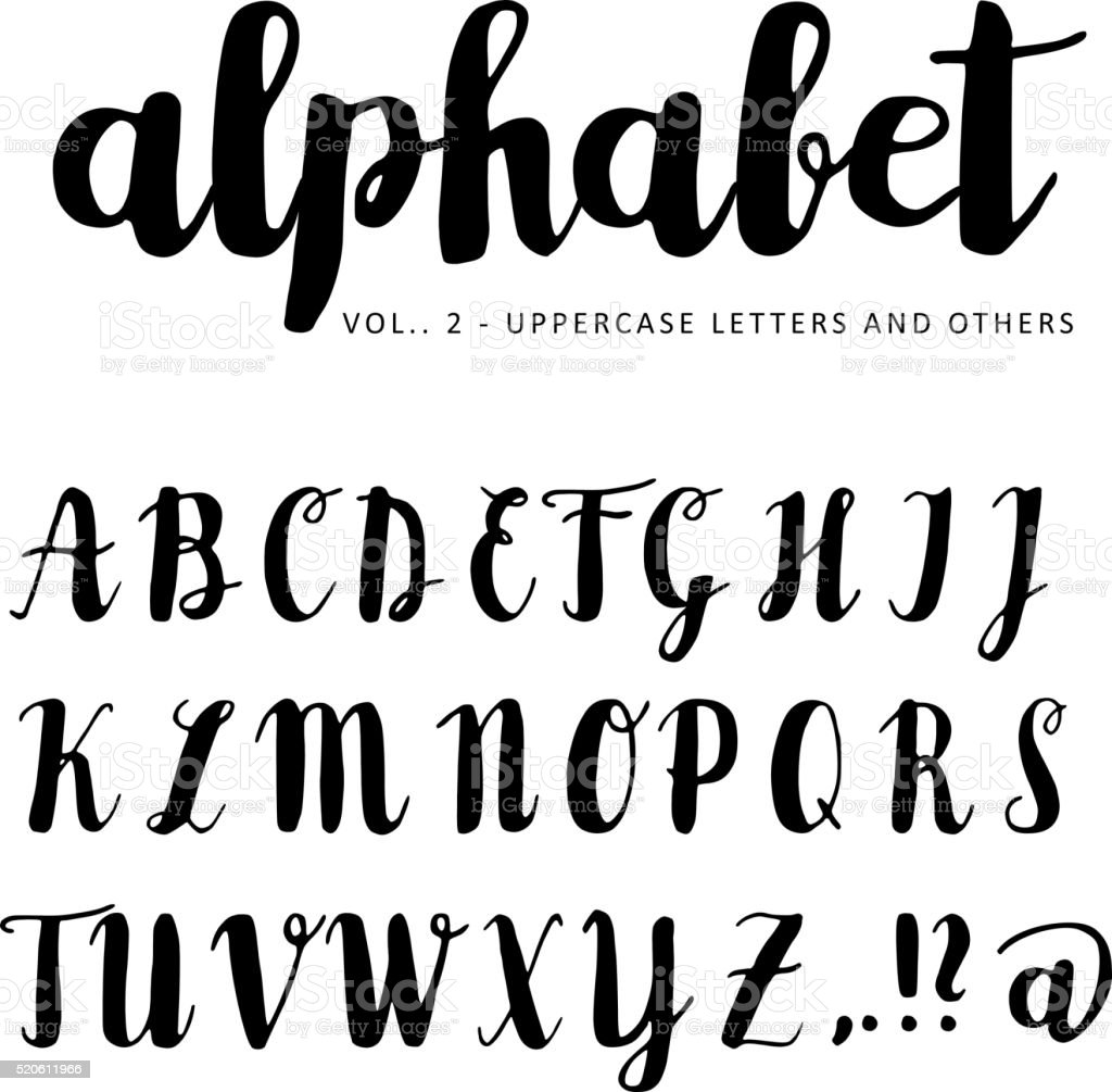 Hand drawn vector alphabet, font, isolated letters vector art illustration