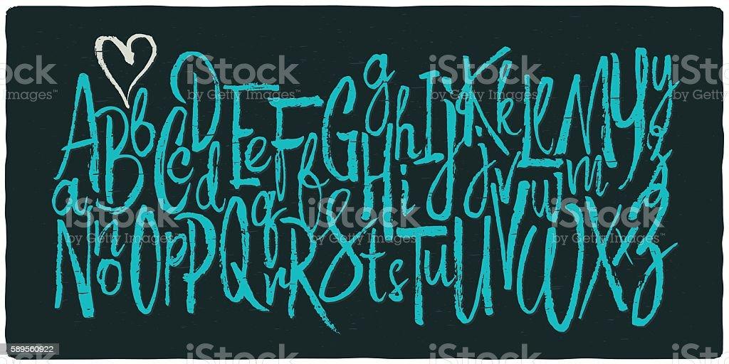 Hand drawn vector alphabet. vector art illustration