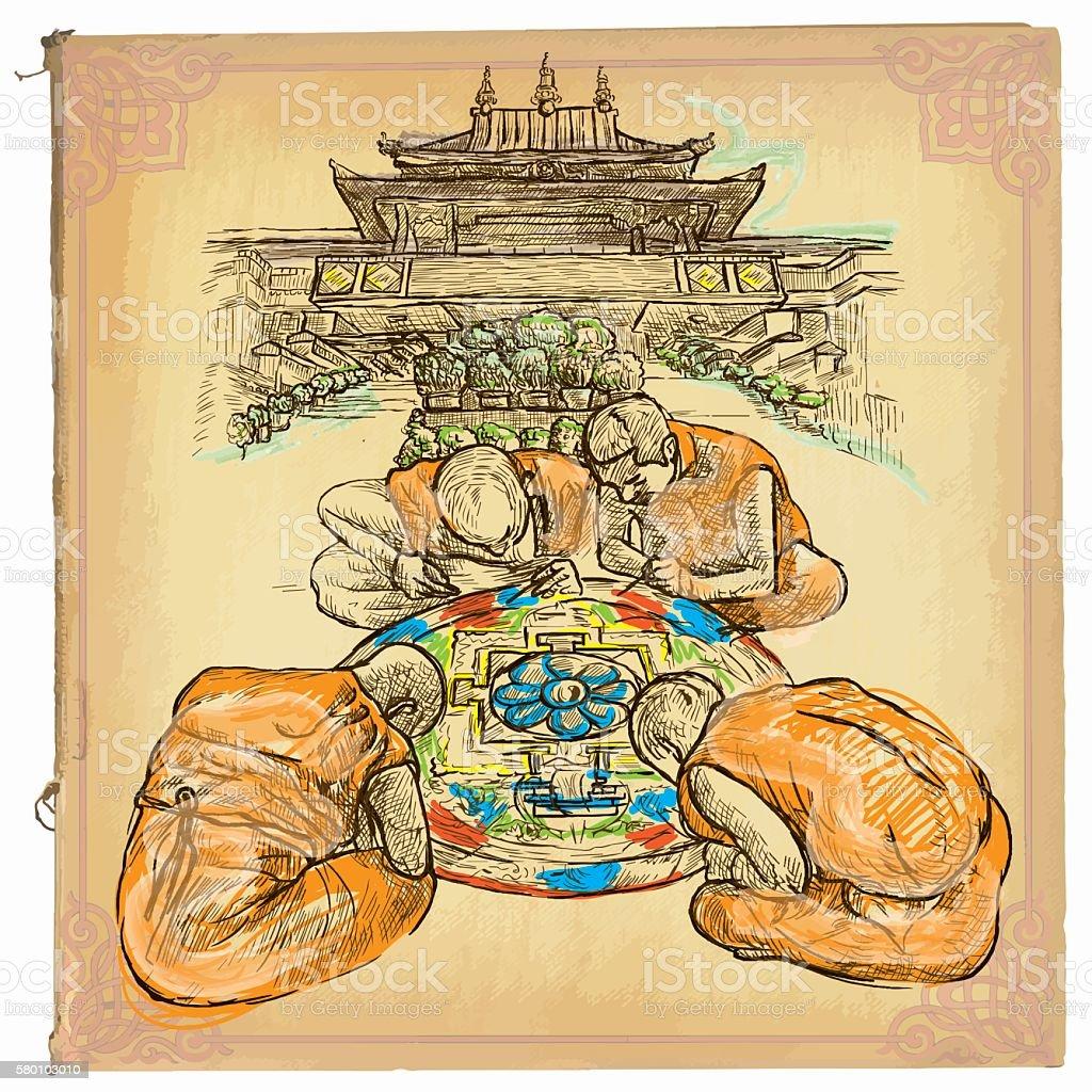 Hand drawn vector, colored line art - Mandala vector art illustration