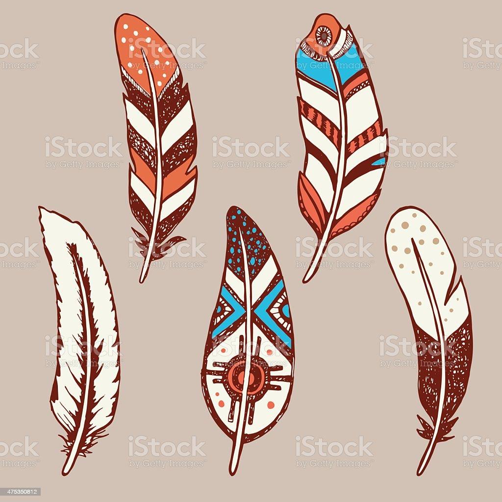 Hand drawn vector feathers set vector art illustration